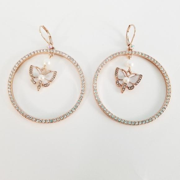 7fb38a45f Betsey Johnson Jewelry   Butterfly Hoop Earrings Rose Gold   Poshmark